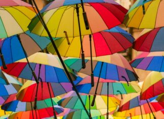 Umbrellas with assorted colors