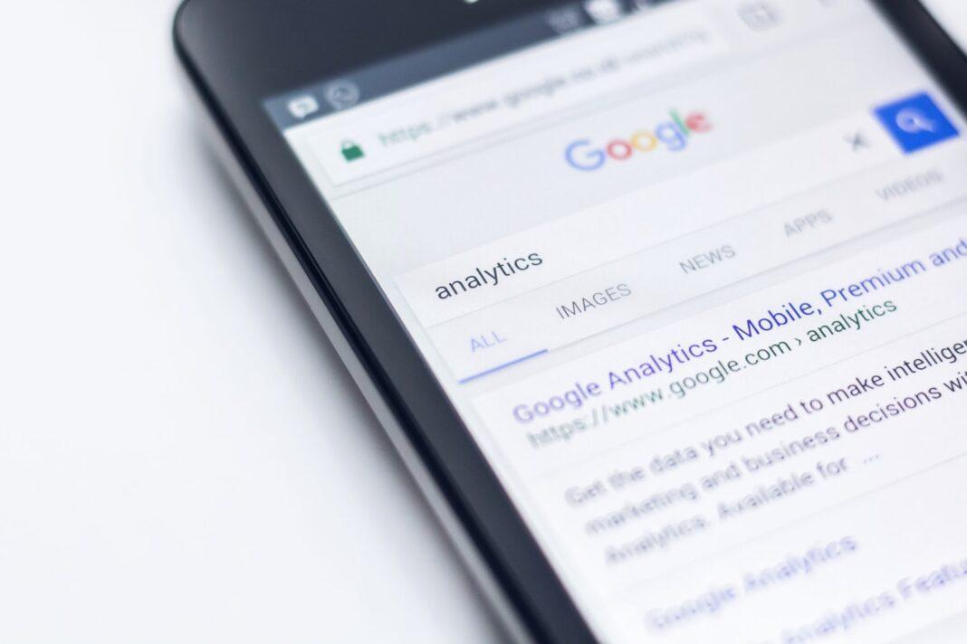Tablet displays Google analytics