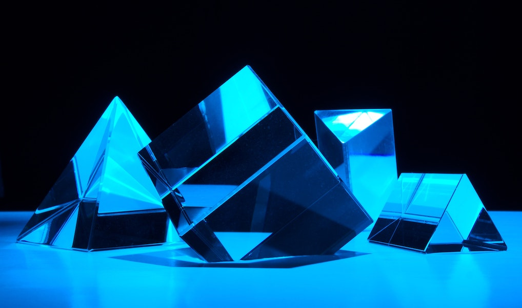 Assorted blue cubes
